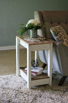 White Combo End Table White Combo End Table,Madera Related posts:Super Diy Desk Repurpose Night Stands Ideas - Diy home decorTop 100 DIY Möbel Ideen - DIY Home Decor Projects - Diy - Diy home. Farmhouse End Tables, Rustic End Tables, Farmhouse Furniture, Rustic Furniture, Antique Furniture, Pallet Furniture End Table, White Rustic Coffee Table, Industrial Furniture, Vintage Industrial