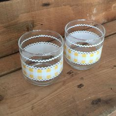 Libbey Juice Glasses - love the gingham pattern in these #libbeyglassware #gingham #rickrack