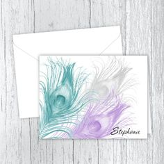 Personalized Printed Note Cards - 3 Peacock Feathers Small Letters, Personalized Note Cards, Peacock Feathers, White Envelopes, Card Stock, I Shop, Birthday Gifts, Great Gifts, Notes