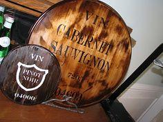 DIY Ballard Wine Barrel Plaque knock off. Great Kitchen accent by wine fridge