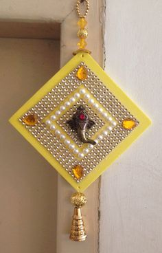 Ganpati wall hanging:) Can be customised to your choice of colour. Diy Arts And Crafts, Crafts To Do, Hobbies And Crafts, Crafts For Kids, Paper Crafts, Diy Crafts, Handmade Crafts, Diwali Decorations, Festival Decorations