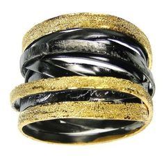 Black and Gold cross over multi band ring wide band greek ring