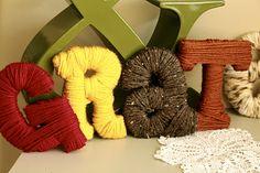 Yarn wrapped letters. Cute.