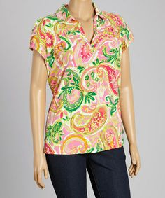 892cfcdf0a7 This Tickled Pink  amp  Green Paisley Collar V-Neck Top - Plus by Caribbean