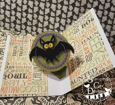 Caz Counsell using the Pop it Ups Twist Circle, Midnight the Bat and Halloween Scene die sets by Karen Burniston for Elizabeth Craft Designs. - A STAMPING & CHIRPING Corner: Twist Circle Pop Up NEW Karen Burniston Releases