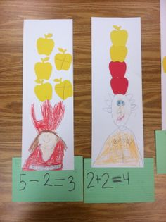 """Kindergarten students create addition and subtraction sentences through FIVE using the story, """"Ten Apples Up on Top""""."""