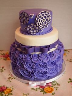 """Purple and White """"shawna Flower"""" Birthday Cake  By annemarie40 on CakeCentral.com"""