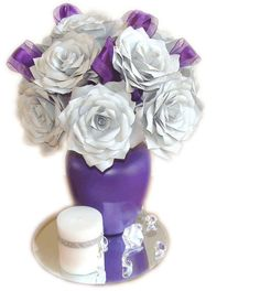 Purple Wedding Centerpiece, Wedding Decorations, Quinceanera Centerpiece, Bridal Centerpiece, Home Decor, Bridal Shower, Baby shower decor - pinned by pin4etsy.com