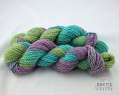 Peacock Delight hand dyed alpaca blend yarn bulky by Arctickrafts