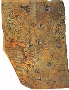 """""""The Piri Reis map was discovered in 1929 in Topkapi Palace,Constantinople, Turkey.The map is considered to have been drawn in 1513 by Piri Reis, a famous admiral of the Turkish fleet. Map was one of the earliest world maps to include the Americas. Ancient Aliens, Ancient History, Ancient Mysteries, Ancient Artifacts, Ancient Map, Old Maps, Antique Maps, Antique Items, Ufo"""