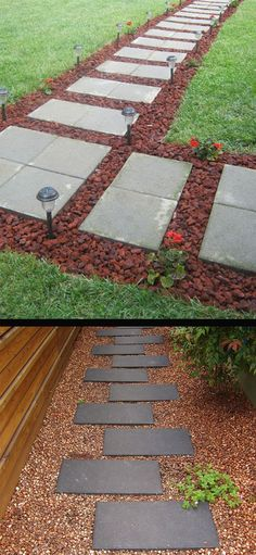 Front Walkway built out of inexpensive cement pavers, red lava rocks, and solar lights – small front yard ideas diy Cement Pavers, Paver Walkway, Front Walkway, Front Yard Landscaping, Walkways, Landscaping Ideas, Concrete Walkway, Cement Tiles, Backyard Walkway