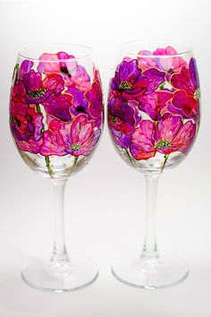 Poppy wine glasses Hand painted wine glasses Floral gift for