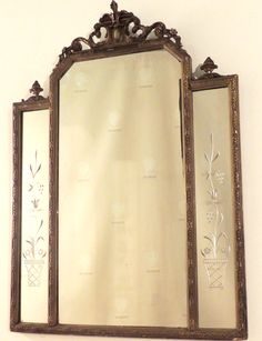 Mirror, Gold/brown Painted Frame, Carved Scroll Crest, Urn Finials, Etched Side Panes - Warner Bros. Property Department