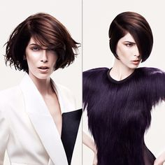 Vidal Sassoon Spring / Summer 2014 Bi-Couture cutting technique Works on creating depth with colours and having an adaptable style when smooth or curly with the cut.