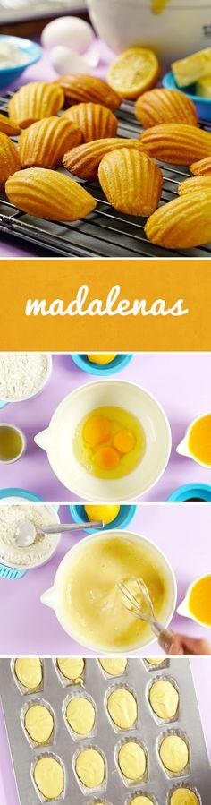 Prepara unas madalenas o madeleines en casa con esta receta fácil. El sabor a naranja y mantequilla de este pan casero es perfecta para acompañarse de un vaso de leche fría o de café. ¡A mamá le encantará!
