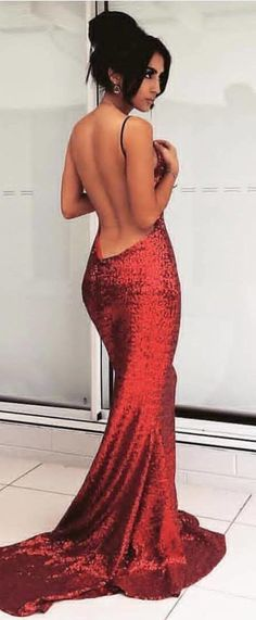 #autumn #outfits Red Sequins Maxi Dress