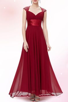 Cici.wang Wine Red Empire Waist Maxi Evening Dress | Maxi Dresses at DEZZAL Click on picture to purchase!