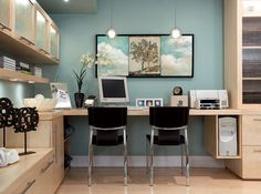 turquoise blue modern office design desk area for two birch cabinets and birch office furniture