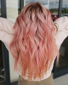 Perfect Peach Subtle Strawberry Hair colour by Vivo Hair & Beauty Pink Peach Hair, Peach Hair Colors, Pink Ombre Hair, Pastel Coral Hair, Pastel Hair Colour, Hair Color And Cut, Hair Color Dark, Cool Hair Color, Strawberry Hair Color