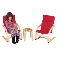 Kids Rocker Chair Set with Table - Red - Guidecraft Library Furniture, Kids Furniture, Interior Led Lights, Pbs Kids, Chair Cushions, Table And Chairs, Kids Playing, Outdoor Chairs, Red