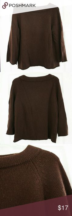 """🍷JCrew🍷Brown boatneck swing sweater Chocolate brown comfy and cute swing sweater from J Crew. Swing style 3/4 length sleeves Boatneck Wool, Nylon, & Cashmere blend material About 24"""" long from top of collar to bottom hem Very comfortable and versatile  Fits true to size Very minimal wear. Great gently loved condition J. Crew Sweaters"""