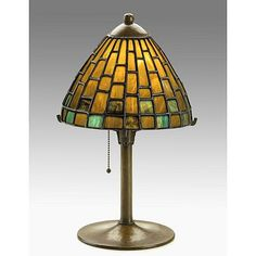 KARL KIPP; Important table lamp; Leaded glass and wrought copper; Marked KARL KIPP HANDWROUGHT EAST AURORA NY; 16'' x 10''