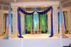 Peacock themed wedding with this mandap? Desi Wedding Decor, Wedding Stage Decorations, Wedding Mandap, Engagement Party Decorations, Wedding Ideas, Peacock Theme, Peacock Wedding, Dream Marriage, Mehndi Decor
