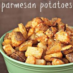Roasted Parmesan Potatoes Recipe; made these for dinner.  Super crunchy, and an interesting take on an old favorite.