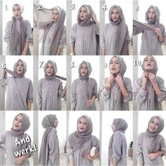 easy way to wear hijab with gown.Hijab style step by step tutorials. Stylish Hijab, Casual Hijab Outfit, Hijab Chic, Hijab Dress, Tutorial Hijab Segitiga, Simple Hijab Tutorial, Muslim Fashion, Hijab Fashion, Beau Hijab