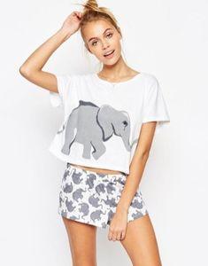 Shop ASOS Elephant Print Tee & Short Pyjama Set at ASOS. Pyjamas, Crop Top Und Shorts, Cropped Shirt, Loose Shorts, Cropped Tops, Pijamas Women, Cute Pajamas, Comfy Pajamas, Cute Crop Tops