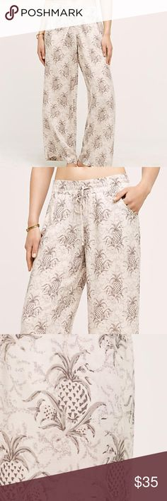 Pineapple beach pants by Anthropologie! ((New)) Never been worn! Super soft and flow-y beach pant with pineapple print. 🍍 Anthropologie Pants