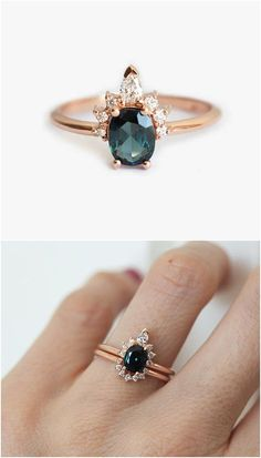 Sapphire Teal Blue Diamond Ring / http://www.deerpearlflowers.com/sapphire-engagement-rings/2/