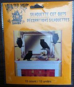 15 Silhouette Cut-Outs Black Owls Halloween Decor