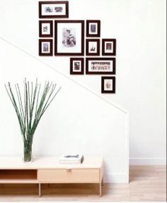 stair wall, i love to place pics like this...its like a puzzel, yet simple