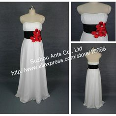 Chiffon Strapless Long White Evening Dress black belt Red flower Ladies RE154 $128.21