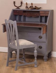 Vintage-Shabby-Chic-Writing-Bureau-Desk-painted-in-Annie-Sloan-Greek-Blue