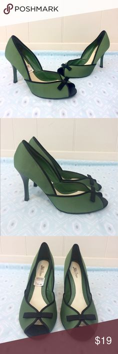 Lela Rose   Green & Black Bow Heels • Lela Rose for Payless green heels with black trim and bows. • Fabric upper balance & manmade materials. • Preloved. • Size 7.  •{If you have any questions please ask before buying.} •Colors may vary slightly from pictures• Lela Rose Shoes Heels