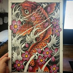 Finally finished this #koifish #koi #design #art #drawing #sketch #japanese #japanesetattoo #tattoo #japaneseart #tattoos #tattooing #tattooed #tattooart #tattoodesign #fish #water #waves #neojapanese #newtraditional #neotrad #neotradsub #neotraditional #uktattoo #UK #uktta