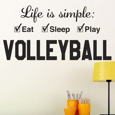 "Alphabet Garden Designs Volleyball Life is Simple Play Wall Decal Size: 12"" H x 21"" W, Color: Burnt Orange"