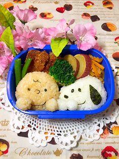 makoryune's dish photo スヌーピーとチャーリーブラウンのお弁当 | http://snapdish.co #SnapDish #こどもが大好きな料理 #お弁当 #お昼ご飯 #キャラ弁 #キャラクター