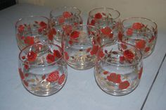 Set of 7 Vintage Roly Polly Rusty Roses and Gold Bar Glasses!