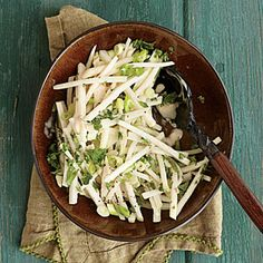 Kohlrabi Slaw (2WW)  Crunchy kohlrabi is ideal for simple slaws because it stays crisp long after it's dressed. Fennel seeds add a lovely licorice note to the dish. A tablespoon of chopped fresh tarragon would be a good substitute.