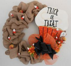 Trick or Treat Burlap Halloween Wreath by SweetCreationsbyJodi, $65.00