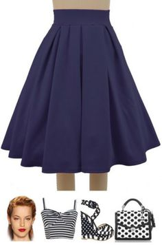 50s-Inspired-DARK-ROYAL-BLUE-Pretty-In-Pleats-High-Waisted-FULL-Midi-PINUP-Skirt