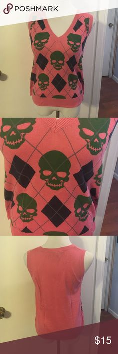 Libertine for Target pink sweater vest Argyle and skull detail. Cotton with a touch of cashmere. Lightweight Libertine Sweaters
