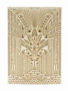 Golden Era pocket invitation by Secret Diary. An Art Deco gold shimmer laser cut pocket. Double sided card on champagne shimmer paper. Includes ornate envelope with Deco elements on the