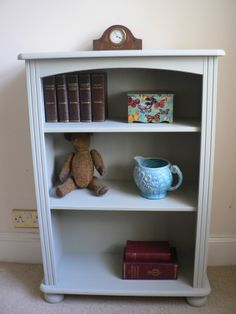 Shabby Chic Bookcase Shelving Unit Painted in Annie Sloan French Grey Chalk Pain £80.00