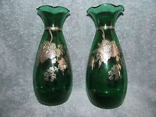 BEAUTIFUL MATCHED PAIR ANTIQUE EMERALD GREEN SILVER OVERLAY VASES