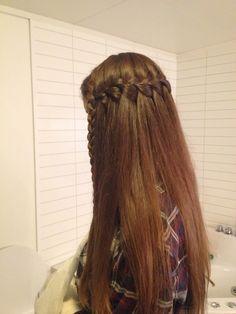 Long hair hairstyle brunette waterfallbraid hairdo