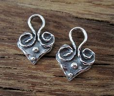 One Spiral Dotted Artisan Heart Charm in by VDIJewelryFindings